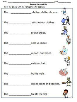 community workers helpers worksheets for grade 1 2