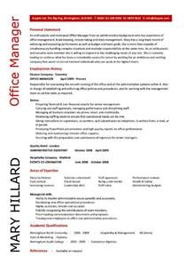 resume objective statement for construction management office manager cover letter exle