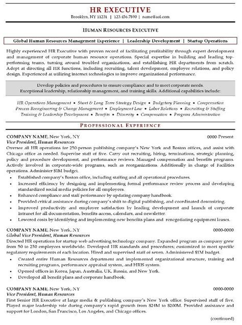 resume sample  human resources executive resume