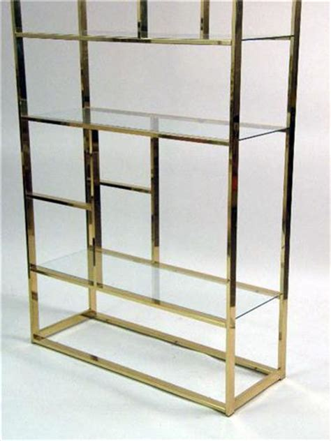 Brass And Glass Etagere by A Contemporary Brass And Glass Etagere