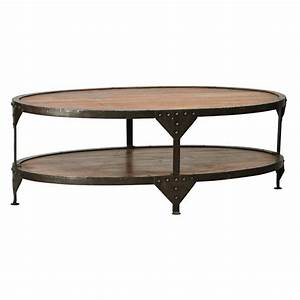 Iron oval coffee table with teak top randy gregory for Oval teak coffee table