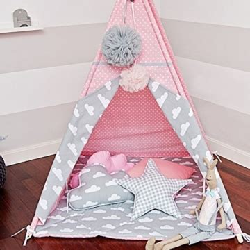 Tipi Zelt Mit Bodenmatte Kinderzimmer by ᐅᐅ Kinder Tipi Zelt Mit 4 Stangen Wimpelkette Bodenmatte