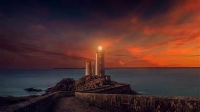 Lighthouse Sunset Scene Wallpapers Nature 4k Backgrounds