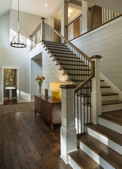 vertical rail staircase rustic  metal stair railing