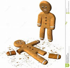 Funny Gingerbread Man Broken Cookie Isolated Stock ...
