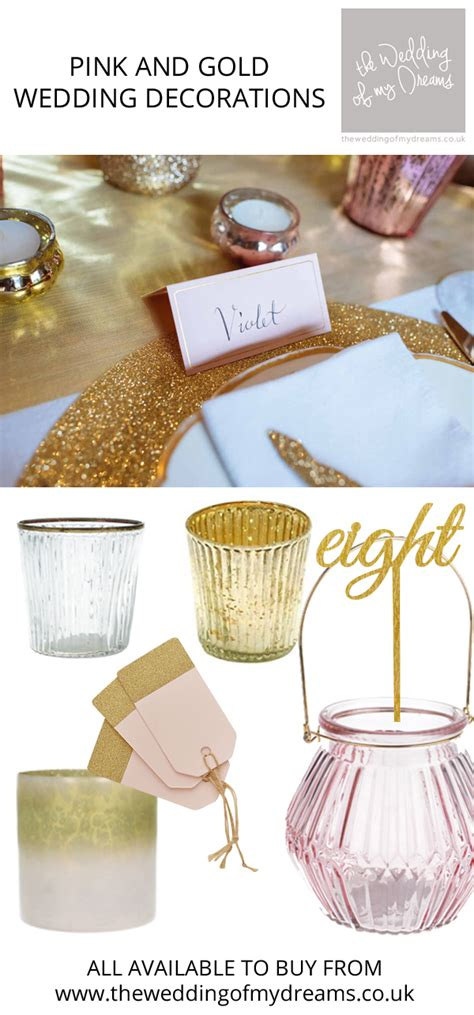 pink and gold wedding ideas decorations for sale