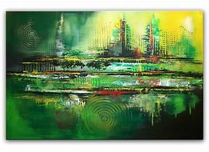 Abstrakte Bilder Leinwand : symbiose gr n abstraktes acrylbild auf leinwand moderne original ~ Sanjose-hotels-ca.com Haus und Dekorationen