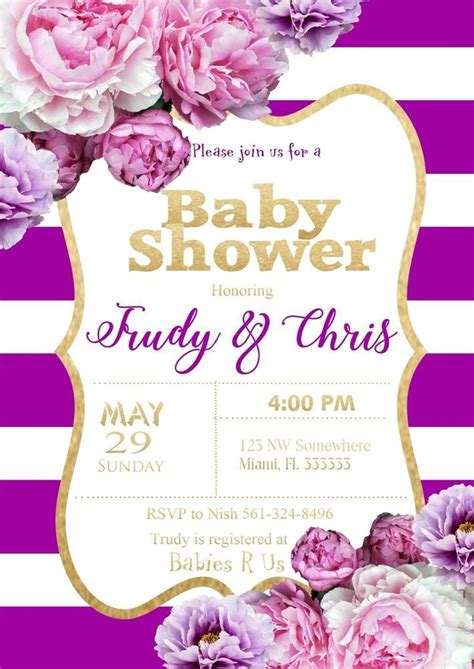 Purple Baby Shower Invitations by Purple And Gold Baby Shower Invitations Purple