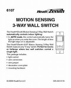 Motion Sensing 3-way Wall Switch 6107 Manuals