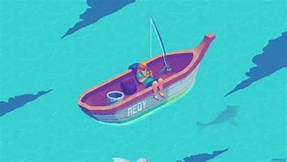 Fishing Pixel Boat Animation Animated Kirokaze Ship