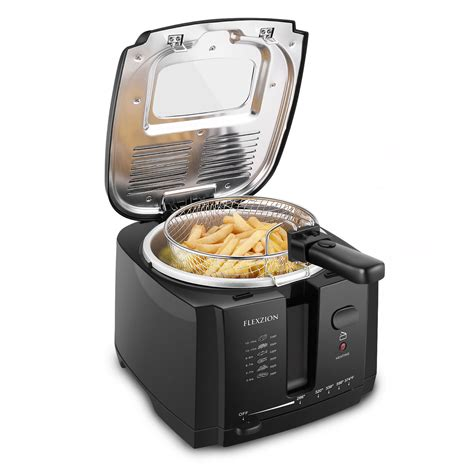 deep fryer fat basket oil temperature cooker thermostat filter commercial electric use liter capacity grease adjustable removable baskets flexzion walmart