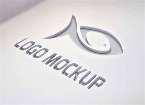 photorealistic smooth laser cut logo mockup psd