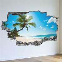beach wall murals Tropical Palm Tree Beach Island 3D Wall Mural Photo ...