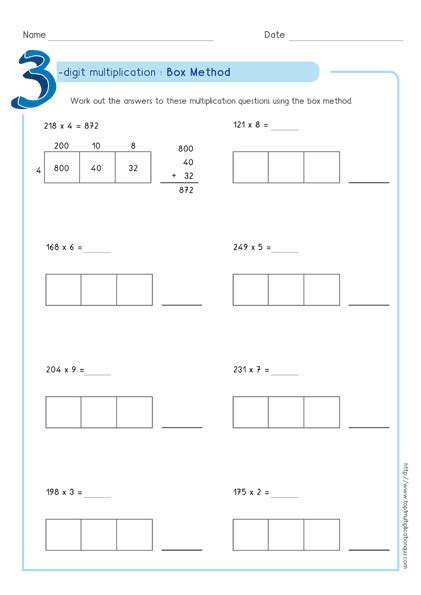 Box Method Multiplication 3digit Numbers Worksheets Pdf