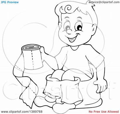 Toilet Potty Boy Training Sitting Clipart Cartoon