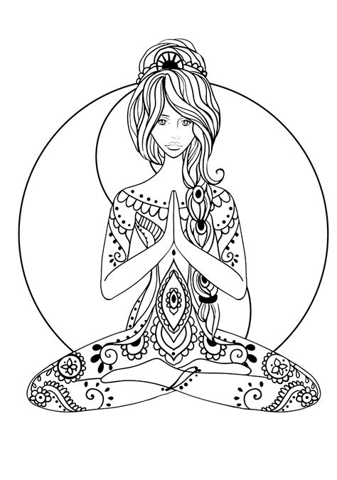 yoga anti stress adult coloring pages