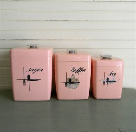 Vintage Kitchen Canisters by Vintage 1950s Kitchen Canisters Pink Kitchen Canisters