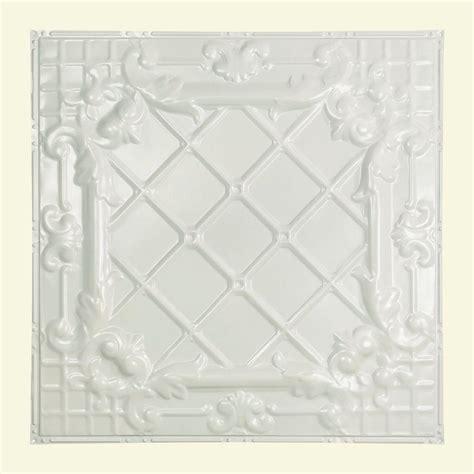white tin ceiling tiles home depot great lakes tin toledo 2 ft x 2 ft nail up tin ceiling