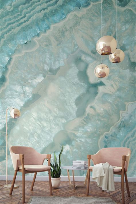 Celeste Agate Crystal Wall Mural Girl Cave Modern