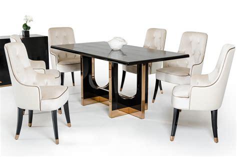 7 Piece Vig Modern Black Crocodile Dining Table Set