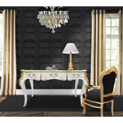 bureau baroque grand bureau baroque de style louis xv blanc 3 tiroirs