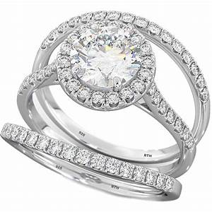 3 pieces round cut wedding engagement bridal ring set With set wedding rings
