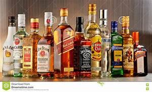 Bottles Of Assorted Hard Liquor Brands Editorial ...