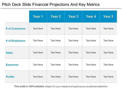 pitch deck  financial projections  key metrics