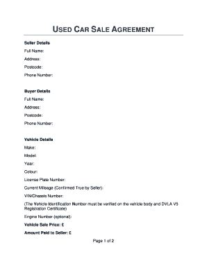 vehicle purchase agreement forms  templates fillable