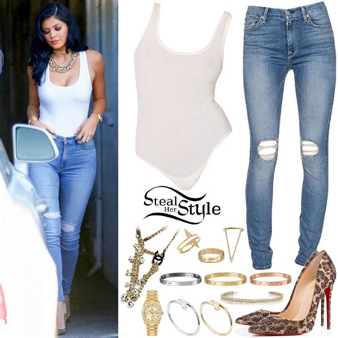 Kylie Jenner White Bodysuit Ripped Jeans | Steal Her Style