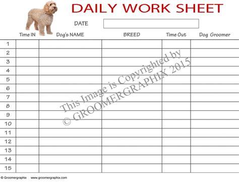 daily worksheet  groomergraphix
