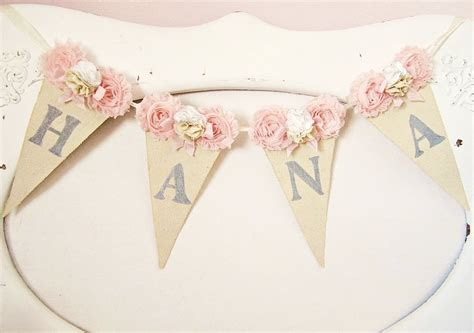 shabby chic banner girl name banner pink and grey nursery shabby chic nursery