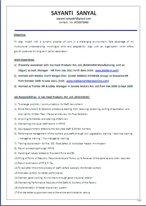 beautyful resume sample  word docmba hr   years experiance resume formats