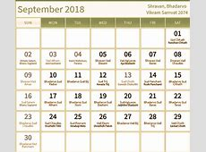 Hindu Calendar 2018 with Tithi Printable Calendar Pro