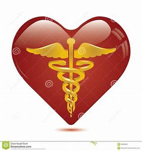 Caduceus In Heart Medical Symbol . Stock Image - Image ...