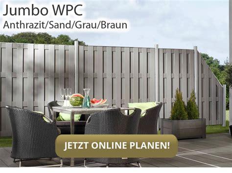 Garten Sichtschutz Jumbo by Sichtschutzzaun Wpc Jumbo Wpc Anthrazit Alu Hier G 252 Nstig