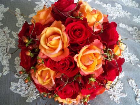 fall wedding bouquets silk flower red orange bridal