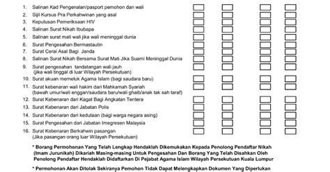 checklist  checklist borang kahwin raikancinta