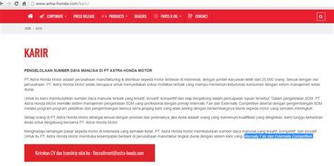 Pt Astra Honda Motor (ahm) Lowongan Via Email Random