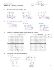 Linear Functions Review Worksheet - Oaklandeffect
