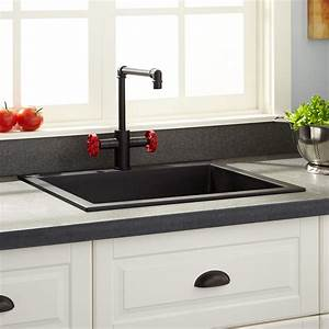 22, U0026quot, Holcomb, Drop-in, Granite, Composite, Sink, -, Black