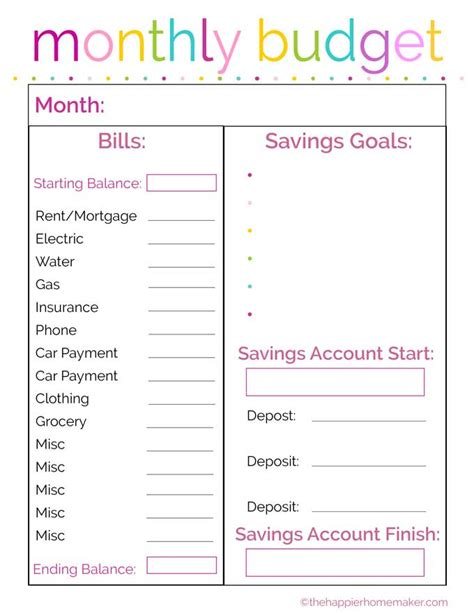free monthly budget printable the happier homemaker
