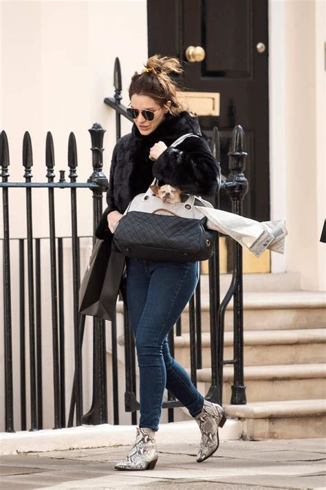 Katharine McPhee wore a black fur coat, jeans and ...