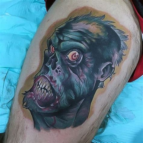 zombie tattoo cool tattoos dead walking thigh designs face cartoon colored funny bite mens voodoo haitian evil masculine tattooimages biz