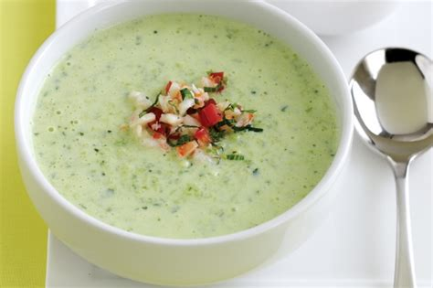 cold soup chilled cucumber soup with prawn and tomato salsa recipe taste com au