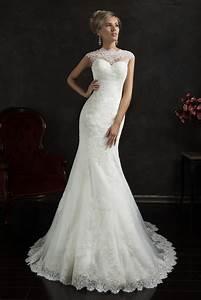 2020 Lace Mermaid Wedding Dresses Capped Sleeves Sheer ...