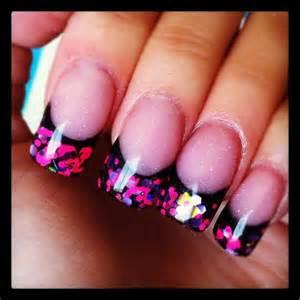 Pink and Black Acrylic Nails