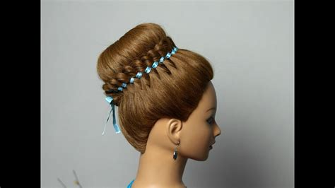 Braided Hairstyle For Long Hair With 4 Strand Ribbon Braid