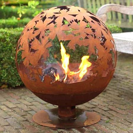 cast iron fire pit globe  laser cut leaf pattern