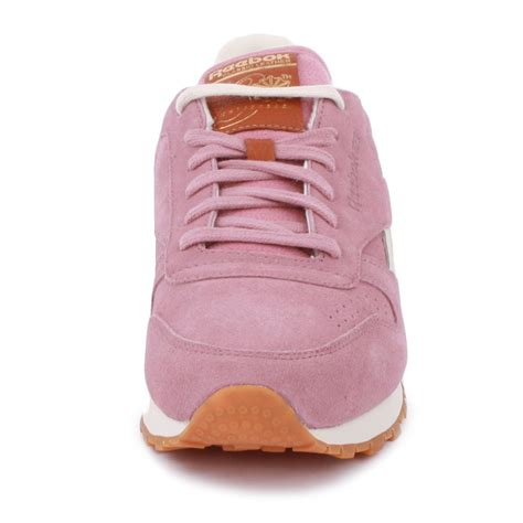 light pink reebok classics reebok classic leather suede womens trainers in light pink
